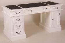 Casa Padrino Schreibtisch Kiefer Massiv England Weiß mit Kunstlederbezug 140 cm - Englischer Schreibtisch - Antik Stil - Empire Jugendstil Barock Kolonial Shabby Chic