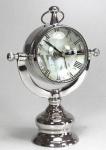 Casa Padrino Luxus Messing Tischuhr Silber 32 x 17 x H. 50 cm - Luxus Deko Uhr