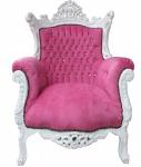 "Casa Padrino Barock Sessel "" Al Capone"" Pink/ Weiß mit Bling Bling Glitzersteinen - Antik Stil"