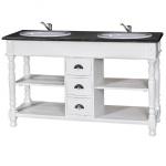Casa Padrino Landhaus Stil Waschschrank Waschtisch inkl 2 Waschbecken mit Schubladen San Sebastian - Bad Schrank Massivholz