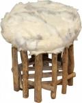 Casa Padrino Designer Hocker Felloptik Hell Höhe 35 cm, Durchmesser 33 cm - Fußhocker Sitzhocker
