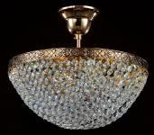 Casa Padrino Barock Kristall Decken Kronleuchter Gold 30 x H 27 cm Antik Stil - Möbel Lüster Leuchter Hängeleuchte Hängelampe