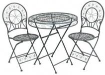 Jugendstil Gartenmöbel Set Tisch mit 2 Stühlen, hellgraues Metall