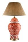 Casa Padrino Luxus Tischleuchte Keramik Rot / Beige Messing - Leuchte - Luxury Collection