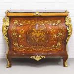 Casa Padrino Barockstil Kommode mit 3 Schubladen und Marmorplatte in braun / gold / schwarz 120 x 50 x H. 95 cm - Möbel im Antik Stil