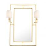 Casa Padrino Luxus Designer Wandspiegel Messing 113 x H 140 cm - Luxus Hotel Spiegel