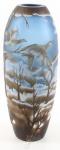 Casa Padrino Luxus Glas / Cameoglas Vase Winterlandschaft Mehrfarbig Ø 14, 2 x H. 36 cm - Deko Blumenvase