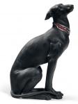 Casa Padrino Luxus Porzellan Skulptur Windhund Schwarz 11 x H. 30 cm - Handgefertigte & Handbemalte Luxus Deko Figur