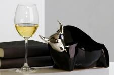 Casa Padrino Stierfigur Toro aus Keramik schwarz / silber H 18 cm, L 30 cm - Moderne Skulptur