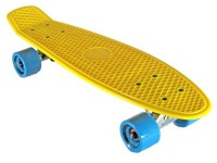 Oldschool Skateboard Plastic Cruiser 70s Style Yellow / Cyan Plastik Skateboard - Vinyl Skateboard Cruiser Longboard