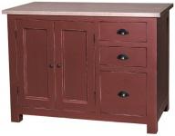 Casa Padrino Landhausstil Shabby Chic Küchenschrank Antik Bordeauxrot / Naturfarben 120 x 65 x H. 90 cm - Küchen Unterschrank mit 2 Türen und 3 Schubladen