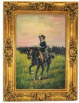 Handgemaltes Barock Öl Gemälde Reiter mit Pferd Mod3 Gold Prunk Rahmen 130 x 100 x 10 cm - Massives Material