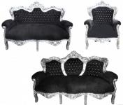 "Casa Padrino Barock Wohnzimmer Set "" King"" Schwarz / Silber - 3-er Sofa + 2-er Sofa + 1 Sessel"