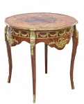 Casa Padrino Barock Beistelltisch Mahagoni Intarsien / Gold H78 x 76 cm - Ludwig XVI Antik Stil Tisch - Möbel