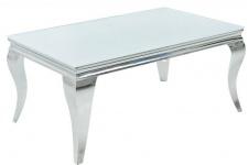 Casa Padrino Luxus Couchtisch 100 cm Weiss / Silber - Modern Barock