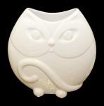 """Casa Padrino Designer Vase """" Cat"""" aus Glas Weiss, glänzend, Höhe 25 cm, Breite 25 cm"""