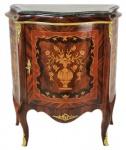 Casa Padrino Barock Kommoden Schrank mit Marmorplatte Mahagoni Intarsien - Möbel Kommode