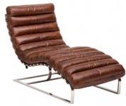 Casa Padrino Luxus Echtleder Vintage Oviedo Liege / Sessel Cigar Braun - Leder Sessel Art Deco Lounge Relax Sessel