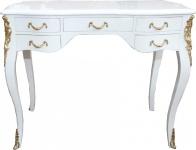 Casa Padrino Luxus Barock Schreibtisch Weiß Hochglanz / Gold 100 x 80 x 58 cm- Sekretär Luxus Möbel