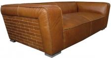 Casa Padrino Luxus Sofa Columbia Braun 228 x 112 x H. 67 cm - Echtleder Möbel