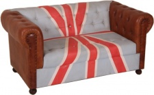 Chesterfield Luxus Echt Leder Sofa Union Jack / Braun 2 Sitzer Vintage Leder von Casa Padrino Englische Flagge England Möbel