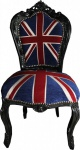 Casa Padrino Barock Esszimmer Stuhl Union Jack / Schwarz - Möbel Antik Stil