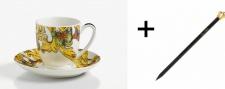 Harald Glööckler Porzellan Espressotasse mit Untertasse + Luxus Bleistift von Casa Padrino - Barock Dekoration