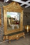 Casa Padrino Luxus Barock Spiegelkonsole Gold Lion - Luxus Wohnzimmer Möbel Konsole mit Spiegel Löwenkopf