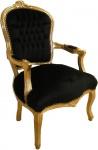 Barock Salon Stuhl Schwarz / Gold