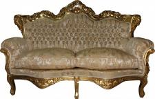 Casa Padrino Barock 2-er Sofa Master Creme Barock Muster/ Gold mit Bling Bling Glitzersteinen Mod3 - Wohnzimmer Couch Möbel Lounge