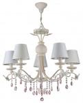 Casa Padrino Jugendstil Kristall Kronleuchter 5-Flammig Creme / Rosa Ø 75 x H. 65 cm - Lüster mit weißen Lampenschirmen