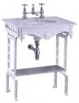 Casa Padrino Luxus Jugendstil Stand Waschtisch Weiß / Weiß mit Marmorplatte und Ablage Barock Waschbecken Barockstil Antik Stil