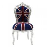 Bew! Casa Padrino Barock Esszimmer Stuhl Union Jack / Silber - Möbel Antik Stil