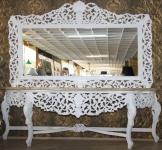 Riesige Casa Padrino Barock Spiegelkonsole Weiß mit cremefarbener Marmorplatte - Luxus Wohnzimmer Möbel Konsole mit Spiegel