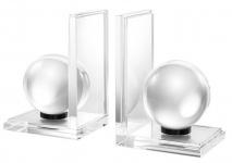 Casa Padrino Designer Kristallglas Buchstützen 2er Set - Luxus Kollektion
