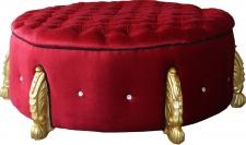Casa Padrino riesiger Barock Rundhocker in Bordeaux / Gold mit Bling Bling Glitzersteinen Durchmesser 107 cm - Luxus Hotel Möbel - Limited Edition