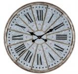 Casa Padrino Wanduhr im Retro Design Antik Silber - Runde Metall Wanduhr mit römischen Stundenzahlen