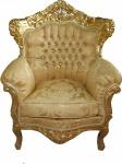 "Casa Padrino Barock Sessel "" King"" Mod 2 Gold/Gold Muster /Gold mit Bling Bling Glitzersteinen - Möbel Antik Stil"