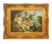 Handgemaltes Barock Öl Gemälde Engelsbildniss 5 Gold Prunk Rahmen 130 x 100 x 10 cm - Massives Material