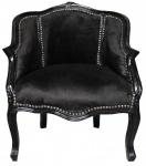 Casa Padrino Barock Damen Salon Sessel Schwarz / Schwarz 63 x 53 x H. 80 cm - Antik Stil Sessel