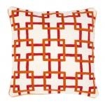 Casa Padrino Zierkissen in weiß / orange / rot 50 x H. 50 cm - Luxus Wohnzimmer Accessoires