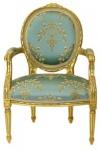 Casa Padrino Luxus Barock Medaillon Salon Stuhl Türkis Muster / Gold Modell Versailles - Möbel Antik Stil