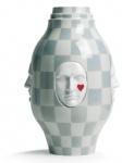 Casa Padrino Designer Porzellan Vase Weiß / Grau Ø 31 x H. 52 cm - Handgefertigte & Handbemalte Luxus Dekoration