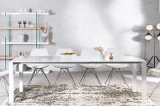 Moderner Design Esstisch Weiß Hochglanz - Ausziehbar 130 - 170 - 215 cm von Casa Padrino - Esszimmer Tisch