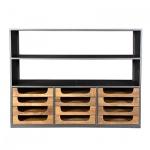 Casa Padrino Designer Buffetschrank mit Schubladen Natur / Graubraun 145 x 46 x 112 cm - Hotel Möbel
