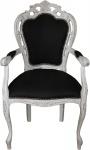 Casa Padrino Barock Esszimmer Stuhl mit Armlehnen Schwarz / Antik Weiss - Designer Stuhl - Luxus Qualität