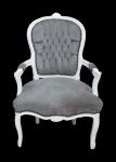 Casa Padrino Barock Salon Stuhl Grau / Weiß