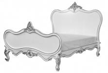 Barock Bett Maison Paris Weiß / Silber 180 x 200 cm aus der Luxus Kollektion von Casa Padrino