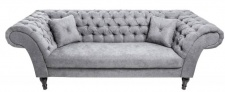 Casa Padrino Chesterfield Sofa in Grau 230 x 90 x H. 80 cm - Designer Chesterfield Sofa
