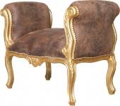 Casa Padrino Barock Schemel Hocker Braun / Gold - Sitzbank - Antik Stil